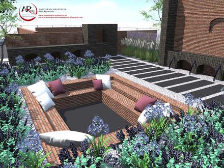 nowoczesny ogród z użyciem cegły rozbiórkowej: styl , w kategorii Ogród zaprojektowany przez PRACOWNIA ARANŻACJA ANNA RYPLEWSKA