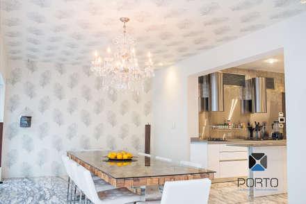 """Segunda parte proyecto """" La Ramona"""". : Comedores de estilo ecléctico por PORTO Arquitectura + Diseño de Interiores"""