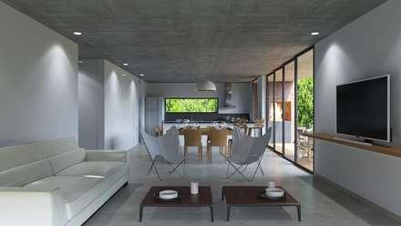 Casa B: Livings de estilo moderno por D+D Studio