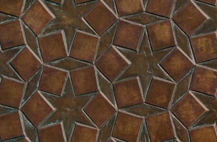 Star Embossed and bronzed briquette - Patinated Copper with hints of verdigris: eclectic Conservatory by De Ferranti