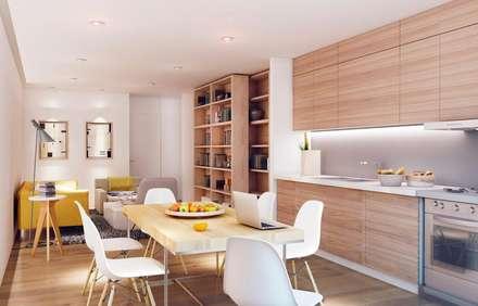 """""""The apartment"""", El Raval -60 m²-, Barcelona. Cocina y comedor.: Cocinas de estilo moderno de GokoStudio"""