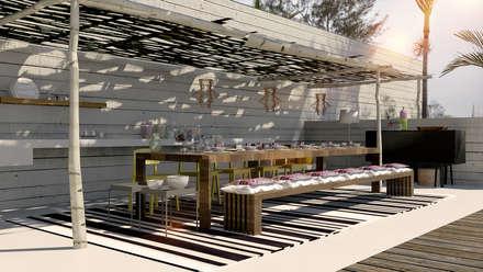 Beach House, Luanda: Jardins rústicos por Antony Simões Studio