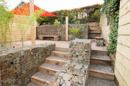 Small Garden with a Very Steep Slope: modern Garden by J B Landscapes LTD