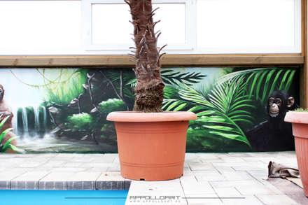 Wandbild auf Hauswand vom Eigenheim: tropischer Pool von  Wandgestaltung Graffiti Airbrush von Appolloart