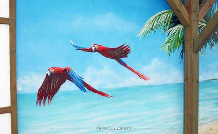 Wandbilder im Schwimmbad : tropischer Garten von  Wandgestaltung Graffiti Airbrush von Appolloart