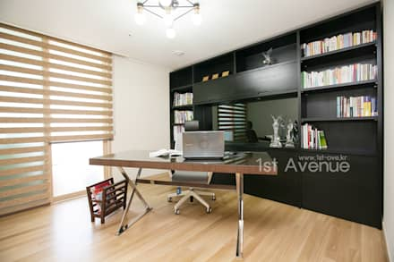 은은한 고급스러움을 표현한 녹번동 인테리어: 퍼스트애비뉴의  서재 & 사무실