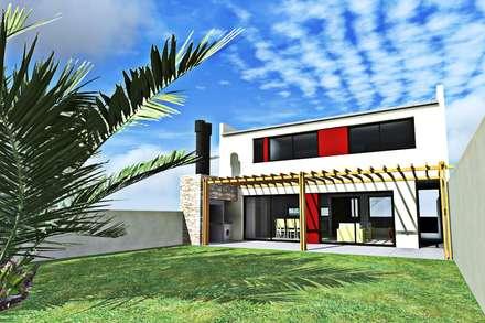 Fachada contrafrente: Casas de estilo moderno por epb arquitectura