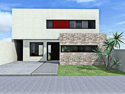 Render fachada frente: Casas de estilo moderno por epb arquitectura