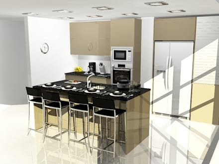 cocina combinada cocinas de estilo moderno por cocinas arce ca