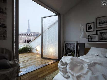 Paris in the rain: Dormitorios de estilo minimalista por SF Render