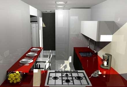 COCINA PEQUEÑA: Cocinas de estilo moderno por COCINAS ARCE C.A.