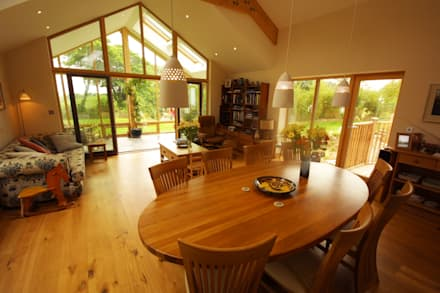 New Build Part Earth Sheltered Split Level House: country Dining room by Arco2 Architecture Ltd