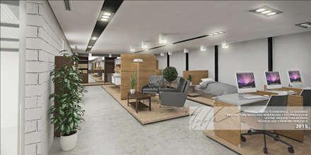 AREA DE EXHIBICIÓN: Oficinas y Tiendas de estilo  por Arq.AngelMedina+