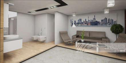 AREA DE EXHIBICION: Oficinas y Tiendas de estilo  por Arq.AngelMedina+