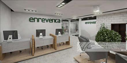 AREA DE ATENCION AL CLIENTE/ AREA DE EXHIBICION: Oficinas y Tiendas de estilo  por Arq.AngelMedina+