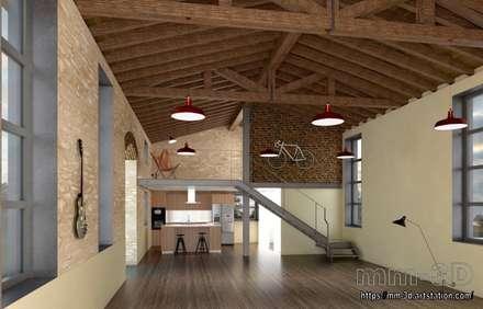 Kitchen and staircase: Hoteles de estilo  de mm-3d