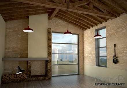 Fireplace and exterior views: Hoteles de estilo  de mm-3d