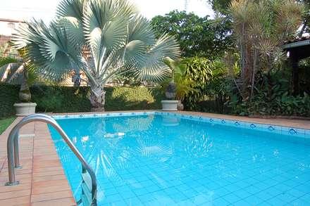 Casa Palmeira Azul: Piscinas modernas por Emmilia Cardoso Designers Associados