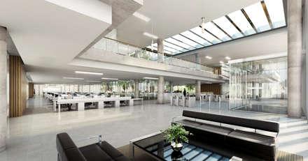 acceso a oficinas: Estudios y oficinas de estilo mediterraneo por 1.61 Arquitectos