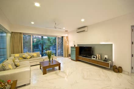 Private Residence at Sopan Baug, Pune: minimalistic Living room by Chaney Architects