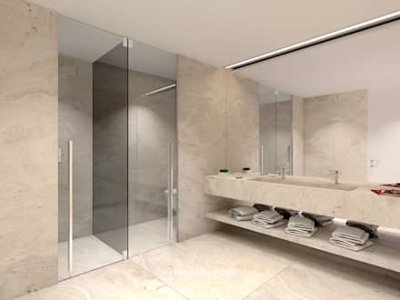 3D Visualization of the project: Casas de banho modernas por Mercado da Pedra