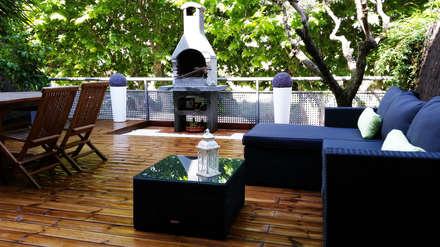 Terrazas y césped artificial: Terrazas de estilo  de Quercus Jardiners