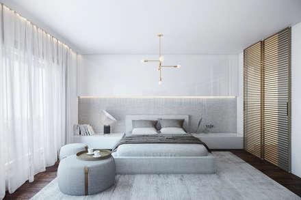 MASTER SUITE: Quartos modernos por DZINE & CO, Arquitectura e Design de Interiores