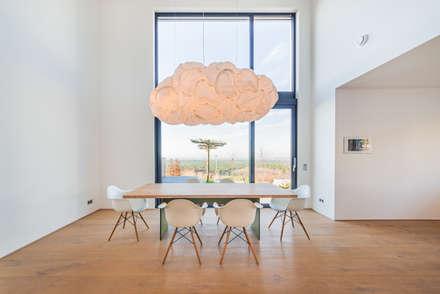 Individuelles Doppelhaus an der Bergstraße: minimalistische Esszimmer von Helwig Haus und Raum Planungs GmbH