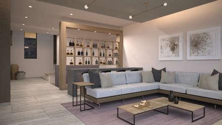 Vista de la sala y el bar: Salas de estilo minimalista por Nova Arquitectura
