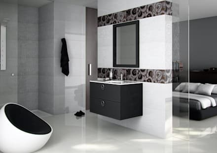 Nero Seta: Baños de estilo moderno por Lateral3D