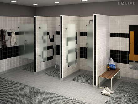 Area 15 White, Damas Grey 15x15: Gimnasios domésticos de estilo moderno de Equipe Ceramicas