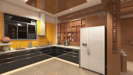 BHAVESHBHAI CHUAHAN RESIDENCE: Modern Kitchen By INCEPT DESIGN SERVICES