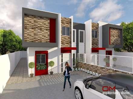 DISEÑO DE VIVIENDA PAREADA: Casas de estilo minimalista por om-a arquitectura y diseño