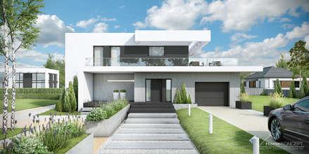 HomeKONCEPT-34 - elewacja frontowa: styl nowoczesne, w kategorii Domy zaprojektowany przez HomeKONCEPT | Projekty Domów Nowoczesnych