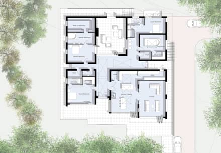 Ground Floor Plan: modern Living room by Artform Architects