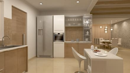 BELLEZEA, NAMBIAR BUILDERS, SARJAPUR, BANGALORE. (www.depanache.in): modern Kitchen by De Panache  - Interior Architects