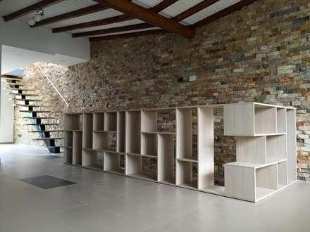 Mueble en salón que lo separa de las escaleras de acceso: Salas de estilo moderno por ALSE Taller de Arquitectura y Diseño