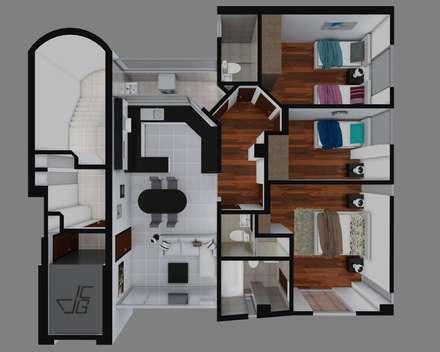 Las Terrazas de San Andres: Dormitorios de estilo moderno por Arquitectura y diseño 3d- J.C.G