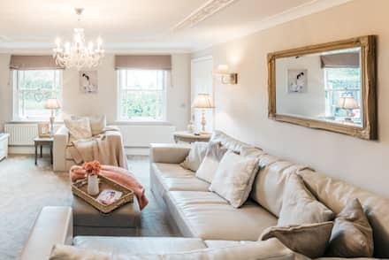 French Shabby Chic Living Room: modern Living room by Katie Malik Interiors