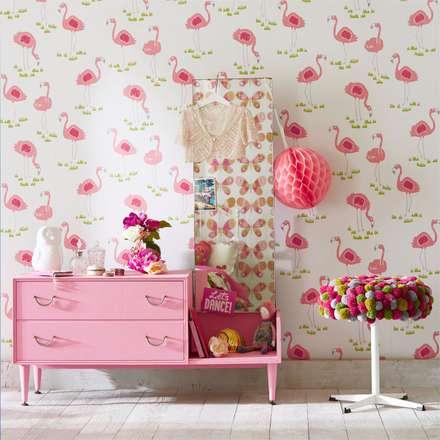 Tapeta Felicity Flamingo : styl , w kategorii Pokój dziecięcy zaprojektowany przez Juicy Colors