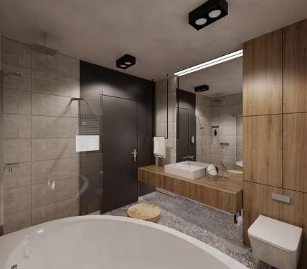 Łazienka w szarościach: styl , w kategorii Łazienka zaprojektowany przez Ale design Grzegorz Grzywacz