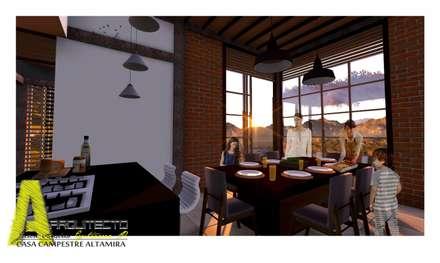 ÁREA INTERNA: Comedores de estilo rústico por ARQUITECTO JUAN ANDRES GUTIERREZ PEREZ