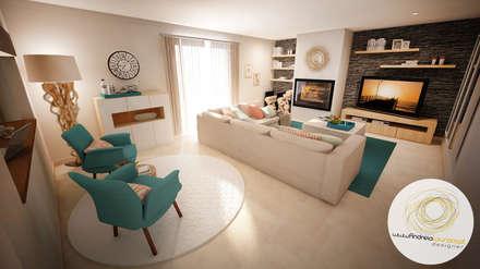 Projecto - Salas, Balão e Entrada: Salas de estar modernas por Andreia Louraço - contacte: atelier.andreialouraco@gmail.com