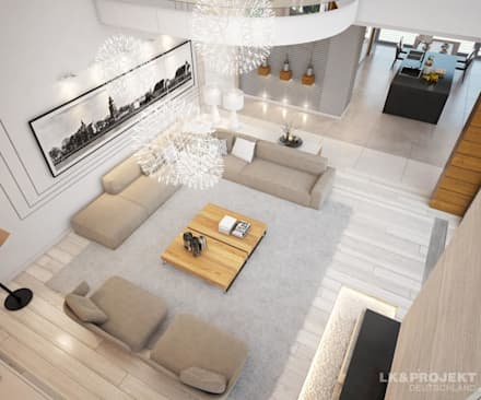 Wohnzimmer, Küche, Schlafzimmer, Bad; Garderobe, Swimmingpool, Sauna - nicht nur die Aussicht ist fantastisch... : moderne Wohnzimmer von LK&Projekt GmbH
