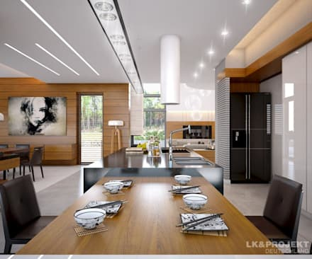 Wohnzimmer, Küche, Schlafzimmer, Bad; Garderobe, Swimmingpool, Sauna - nicht nur die Aussicht ist fantastisch... : moderne Esszimmer von LK&Projekt GmbH