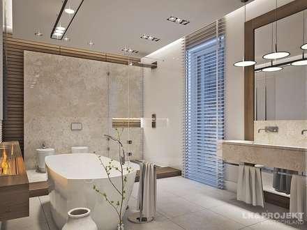 Wohnzimmer, Küche, Schlafzimmer, Bad; Garderobe, Swimmingpool, Sauna - nicht nur die Aussicht ist fantastisch... : moderne Badezimmer von LK&Projekt GmbH