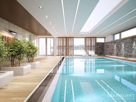 Wohnzimmer, Küche, Schlafzimmer, Bad; Garderobe, Swimmingpool, Sauna - nicht nur die Aussicht ist fantastisch... : moderner Pool von LK&Projekt GmbH