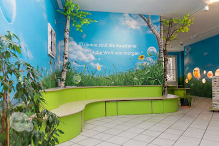 Wandmalerei - Ansicht Sitzbank :  Schulen von Graffiti und Wandmalerei | Frameless-studio UG