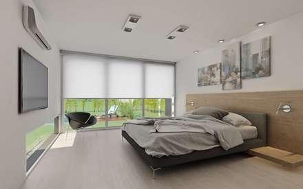 Vivienda en Sauces del Limay: Dormitorios de estilo moderno por Chazarreta-Tohus-Almendra