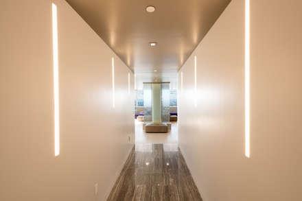 Luxury Apartment Combination: minimalistic Corridor, hallway & stairs by Andrew Mikhael Architect